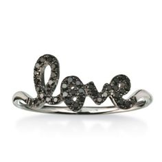 14K White Gold and Black Diamond Love Ring - Borsheims.com *love this!*