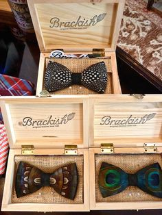 bow ties for the groom wow so unique and look at the packaging! featured by Quintessence - Brackish feather bow ties Groomsmen Gifts Unique, Groomsman Gifts, Gentleman, Tie And Pocket Square, Pocket Squares, Sharp Dressed Man, Mode Style, Style Blog, Mode Inspiration