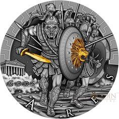 2017 Ares God of War Coin: Ultra High Relief, Antique Finish, Partially Gold Gilded, Exceptional Design and Bullion Coins, Gold Bullion, God Of War Series, Coin Design, Coin Art, One Coin, Greek Art, Rare Coins, Coin Collecting