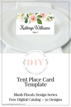 DIY Tent Style Seating Cards for Reception ~ INSTANTLY EDIT in your browser window, download and print. Wedding Templates, Card Templates, Free Wedding, Diy Wedding, Diy Tent, Edit Online, Seating Cards, Tent Cards, Tent Wedding