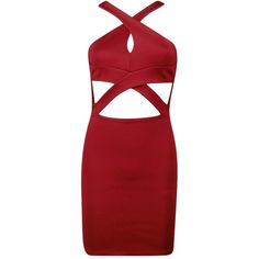 Boohoo Petite Julia Cross Over Detail Bodycon Dress ($12) ❤ liked on Polyvore featuring dresses, red body con dress, petite bodycon dresses, bodycon cocktail dress, petite red dress and surplice dress