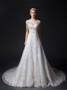 Cap Sleeves Illusion Bateau Neckline #Lace Appliques A-line Wedding Dress