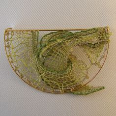 firedragonlace lime and gold brooch
