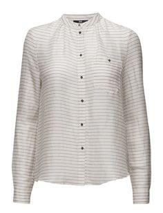 Hvit Day Birger et Mikkelsen Wispy stripete skjorte Mandarin Collar, Stripes, Pullover, Elegant, Day, Long Sleeve, Sweaters, Cotton, How To Wear