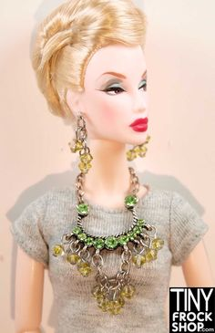 Fashion Doll Accessory Plastic Silver 2-Strand Necklace