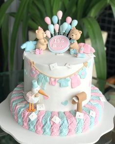 Baby Shower Cake Designs, Baby Shower Cakes Neutral, Deco Baby Shower, Baby Shower Sweets, Baby Shower Balloons, Baby Cakes, Baby Reveal Cakes, Gender Reveal Party Decorations, Baby Gender Reveal Party