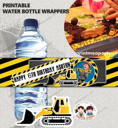 Construction Birthday Party printable waterbottle wrapper or napkin wrappers ,Construction Birthday Party