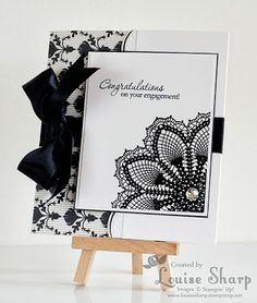Just Add Ink 184 - Stampin Up Hello Doily Engagement card - By Louise Sharp
