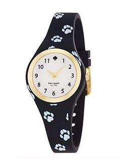 paw print rumsey: make a splash--literally and figuratively--with this special timepiece in water-resistant rubber. this one's extra-special, with a playful paw print to remind you to walk on the wild side.