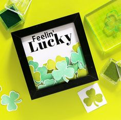 DIY Feelin' Lucky Stamped Shamrock Frame - Happiness is...Creating...