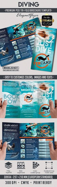 Printable Tri-Fold Brochure Diving Template Psd Templates, Brochure Template, Water Branding, Funny Art, Education Quotes, Graphic, Wedding Designs, Diving, Saint Lucia