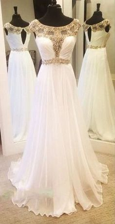 Charming Prom Dress,White Prom Dress,Chiffon Prom Dress,Beading Sleeveless Evening Dress,Floor Length Prom Dress