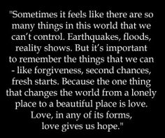 Love gives us hope