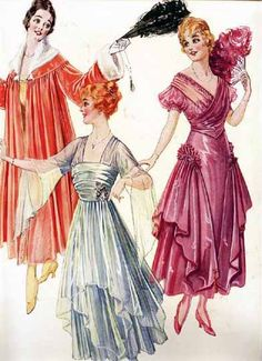 Although fashion during the Ragtime Era varied enormously from year to year, loose sleeves, crossed bodices, and slightly elevated hemlines were all elements that differentiated these dresses from those popular during the previous decade. These illustrations are from 1916.