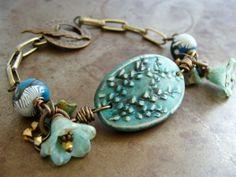 Willow Garden Beaded Cuff Bracelet - Teal