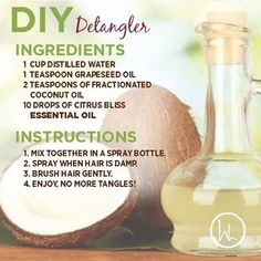 EO Recipe of the Week This is one of my favorite DIY recipes, especially during the summer! Pool hair…DIY hair detangler with essential oils Best Natural Hair Products, Natural Hair Care, Natural Hair Styles, Natural Baby, Diy Hair Detangler, Pool Hairstyles, Toddler Hairstyles, Essential Oils For Hair, Diy Hair Care