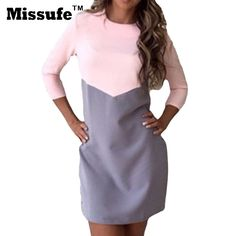 Now Available #fashion #shopping: Missufe Three Qua... Check it out here! http://giftery-shop.com/products/missufe-three-quarter-patchwork-women-dress-2017-spring-summer-fashion-casual-mini-tunic-sarafan-ukraine-bodycon-party-dresses?utm_campaign=social_autopilot&utm_source=pin&utm_medium=pin