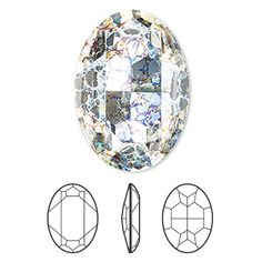 Embellishment, Swarovski® crystal rhinestone, Crystal Passions®, crystal white patina, foil back, 30x22mm faceted oval fancy stone (4127). Sold per pkg of 4.