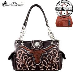 Montana West Longhorn Concealed Handgun Collection Handbag Purse Coffee Mw216g-8085. Concealed carry. Longhorn design. Coffee colored.
