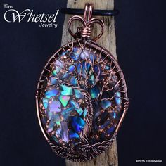 Custom Copper Tree of Life Mother of Pearl Orgonite Pendant - Wire Wrap - Handmade - Thumbnail 1