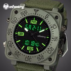 06cbe72cc47 INFANTARIA Top Marca Men Watch Sports Militar Tactical Quartz Relógios LED  Analógico Digital Durável Nylon Strap Relógios de Pulso Relojes