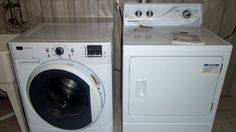 front load washer and clothes dryer in laundry room- how to remove moldy smell