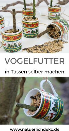 Selbstgemachtes Vogelfutter in Tassen Just make bird food in cups yourself. In Christmas dishes a great eye-catcher on the garden tree. Bird Food in Cups, Make Bird Food by Yourself, DIY Bird Food, Bi Diy Garden Projects, Diy Garden Decor, Christmas Garden Decorations, Egg Carton Crafts, Diy Bird Feeder, Christmas Dishes, Bird Food, Animal Decor, Garden Trees