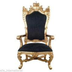 Chair in Gold Velvet Mahogany Hand Carved King Queen Royal Crown Design New | eBay