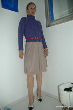 Ocean Blue Style : Purple, Red & Nude - Winter Sweater and Summer Skirt