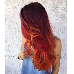 "Haircolor How To: Fiery Phoenix by Amelia ""Violet"" CampRed black and orange hair color Red Orange Hair, Ombre Hair Color, Pink Hair, Red Ombre, Red Hair Orange Highlights, Fiery Red Hair, Orange Pink, White Hair, Phoenix Hair"