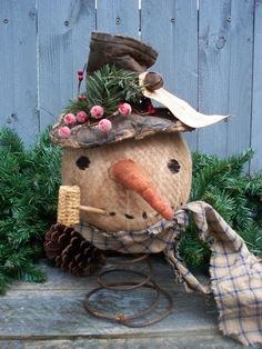 Primitive SNOWMAN STOVE PIPE HAT on BED SPRING Christmas Doll SALE #NaivePrimitive