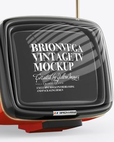 Brionvega Vintage Tv Mockup - Half Side View Close-Up
