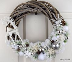 EXCLUSIVE XMAS CHRISTMAS WREATH WHITE SILVER SHABBY CHIC HANDMADE in Home, Furniture & DIY, Home Decor, Dried & Artificial Flowers | eBay