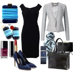 be inspired, bering woman watch, black, blue, blue high heels, blue pumps, business attire, career minded women, confidence, earrings, fashion, gray, gray jacket, how to dress to the office, How to Style Little Black Dress, HowTo, jewellery, little black dress, ootd, pendant, Red Point Tailor, savvy women, style, unleash your creativity, women in business, women who work