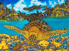 Original silk art by Daniel Jean-Baptiste of a sea turtle & cowrie shell Birds Painting, Original Paintings, Silk Painting, Fine Art America, Painting, Art, Birds Of Paradise, Original Art, Silk Art