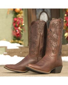 Justin Women's Dark Brown Mustang Cowhide Cowboy Boot   http://www.countryoutfitter.com/products/20311-womens-dark-brown-mustang-cowhide-cowboy-boot-l2559