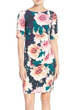 'Exploding' Floral Print Jersey Sheath Dress (Petite)