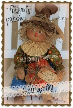 ***NEW*** Raggedy Patch Scarecrow Pattern-Fall,Scarecrow,Prim Scarecrow,Primitive,ePattern,Old Road Primitives,