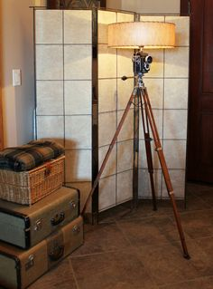 Vintage Industrial Upcycled Camera and Tripod Floor Lamp