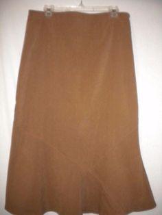 White Stag Petite Size 12 Sweet Tea (Tan) Mid Calf Ladies Career Skirt #WhiteStag #Skirt