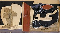 """""""Thèmes Ubu Parurge et Alma Rio,""""1960. Collage of different papers and newspaper with gouache and charcoal mounted on bristol board."""