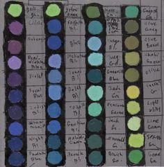Caran d' Ache  Oil Pastel color charts 2