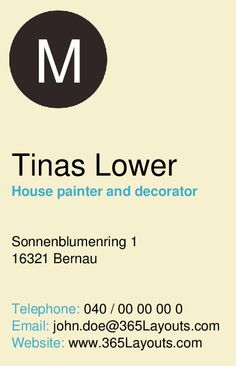 Business Card for Painter and decorator