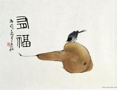 Qin Tianzhu yama-bato aka Pear and Bird Paint Brush Art, Ink Painting, Japanese Painting, Chinese Painting, Art Asiatique, Tinta China, Ink In Water, India Ink, China Art