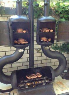 Dual smoker and barbecue. Pit Bbq, Bbq Grill, Asado Grill, Barbecue Smoker, Grill Party, Rocket Stoves, Backyard Bbq, Backyard Ideas, Landscaping Ideas