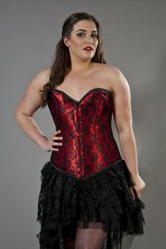 5a0cb59fd9aba Victorian overbust plus size corset red satin black lace overlay