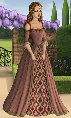 Lady Amarei Redleaf Tudor Fashion, Fashion Art, Vintage Fashion, Fashion Design, Ball Dresses, Ball Gowns, Dress Design Drawing, Concept Clothing, Doll Divine