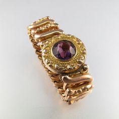 VICTORIAN EXPANSION BRACELET.  gold filled. amethyst glass. edwardian. antique jewelry. Cecile Stewart Partsforyou.  No.001234