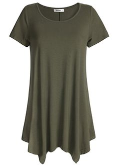 963e73a6 Esenchel Women's Short Sleeve Tunic Shirt Loose Fit Leggings Top S Army  Green Ladies Tops Patterns