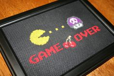 Cross Stitch Kit - Game Over - Pacman eating poison mario mushroom -DIY $15.00